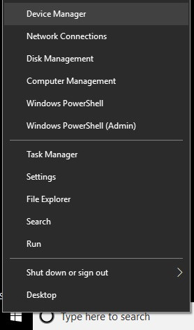 device manager listed in a menu