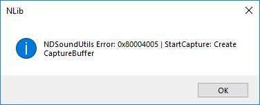 NDSoundUtils Error 0x80004005