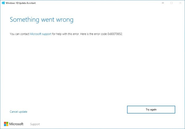 Windows 10 Update Assistant error