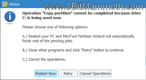copy partition notice