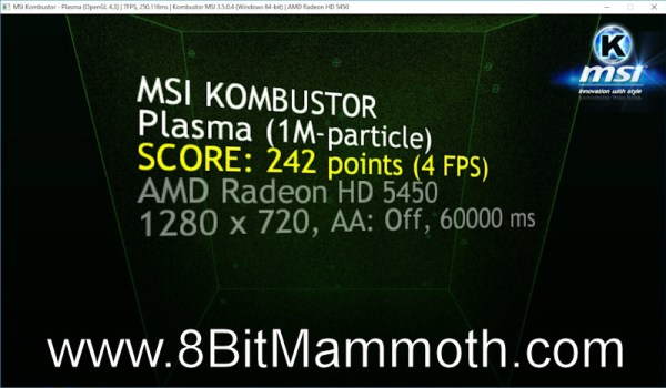AMD Radeon HD 5450 MSI Kombustor Overclocked Score