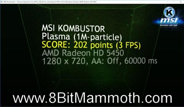 AMD Radeon HD 5450 MSI Kombustor Score
