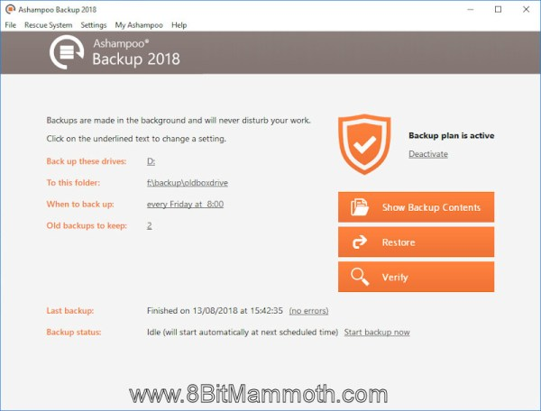 Ashampoo Backup 2018 main screen