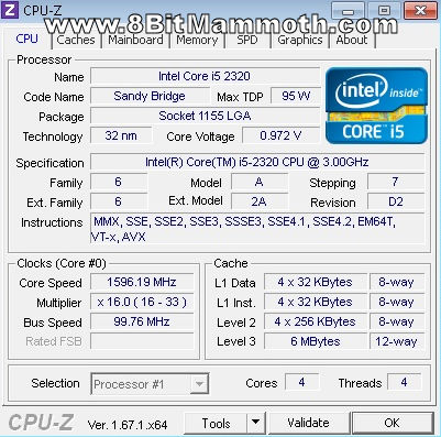 CPU-Z Intel Core i5 2320 3GHz CPU
