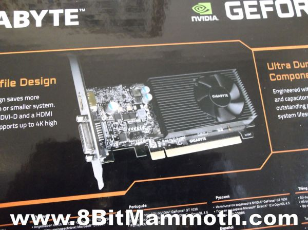 Photo of a GeForce GT 1030 PCIe graphics card on a box