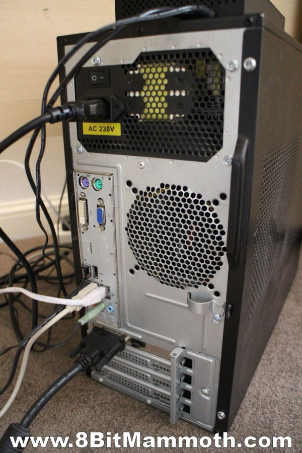 Rear of Advent DT2110 computer
