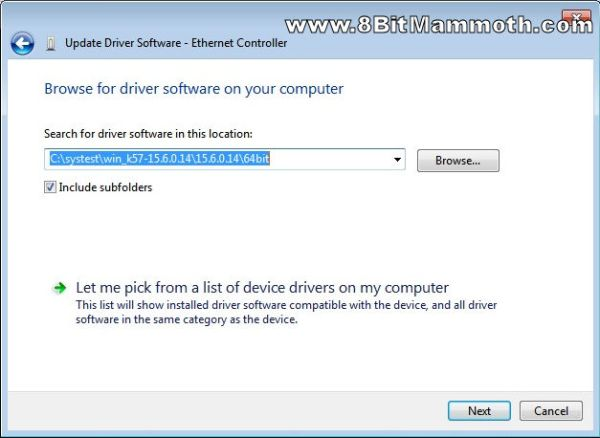 Browse for driver software screenshot