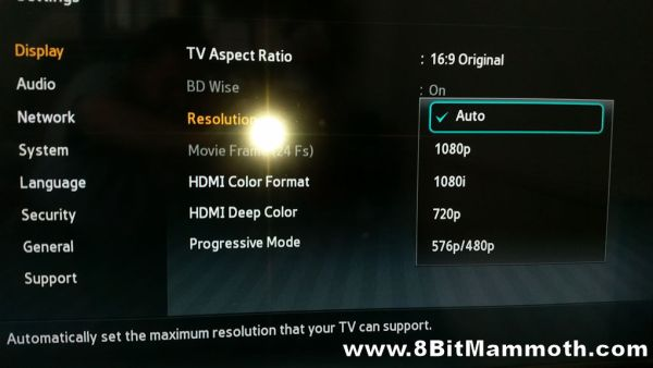 Samsung BD-E5300 HDMI resolutions