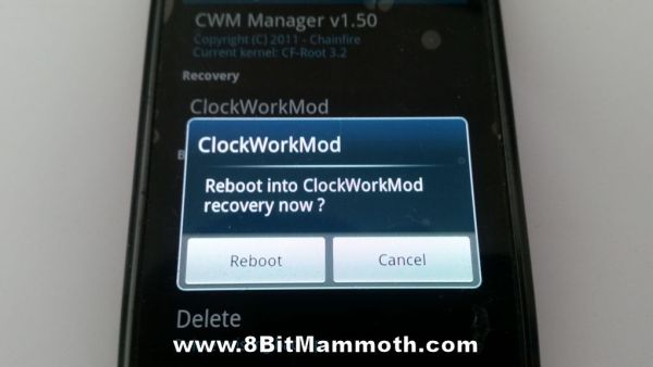 ClockWorkMod Recovery Reboot photo