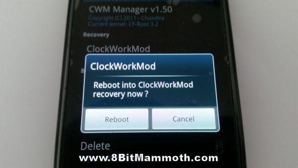 ClockWorkMod Recovery Reboot photo