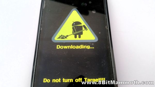 A photo of a Samsung phone in download mode