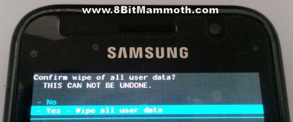 wipe all user data