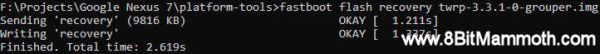 fastboot flash recovery twrp