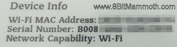 Kindle 3 B008 Wi-Fi Device Info