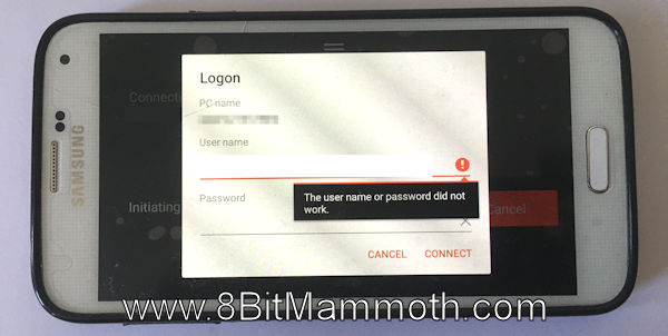 Photo showing a remote logon