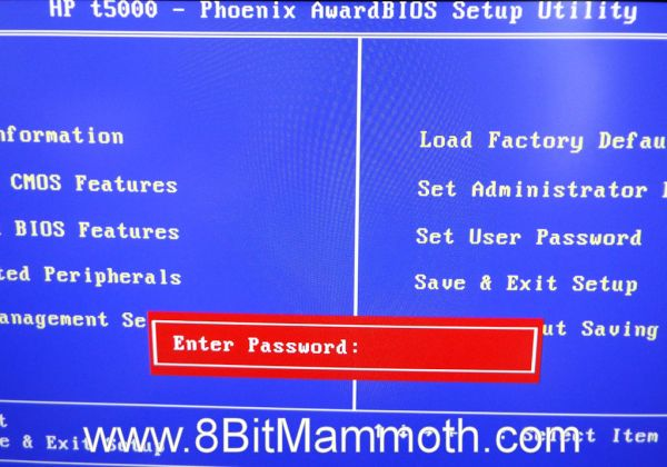 Photo of a T5000 thin client BIOS password prompt