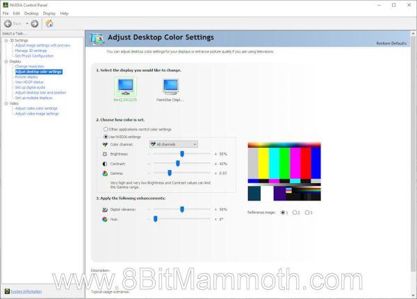 A screenshot of the NVIDIA Control Panel