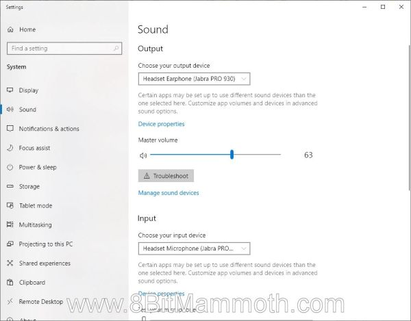 A screenshot of Jabra PRO 930 listed in Windows 10
