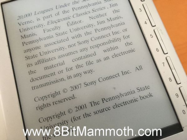 A photo showing an ebook on an ereader