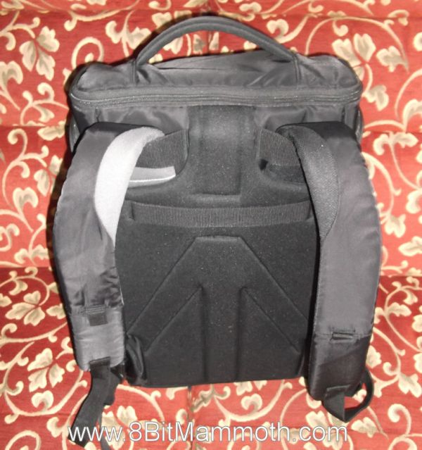 A photo showing the rear of a backpack
