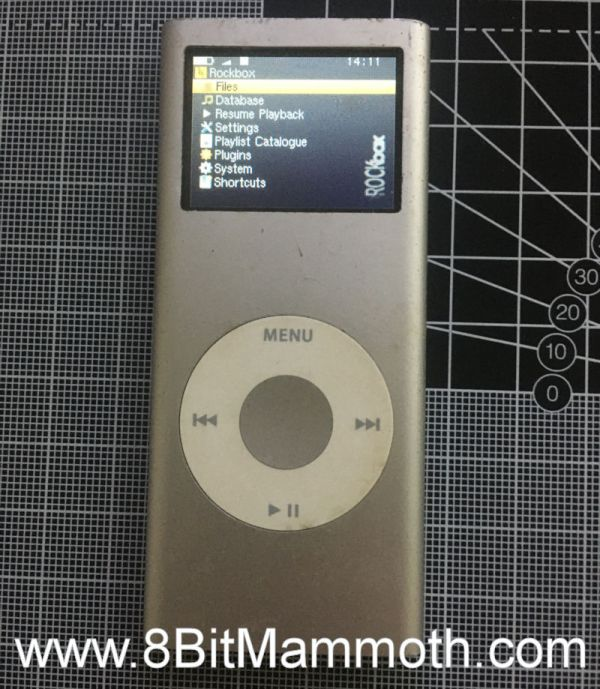 A photo of Rockbox on the iPod Nano 2nd Generation
