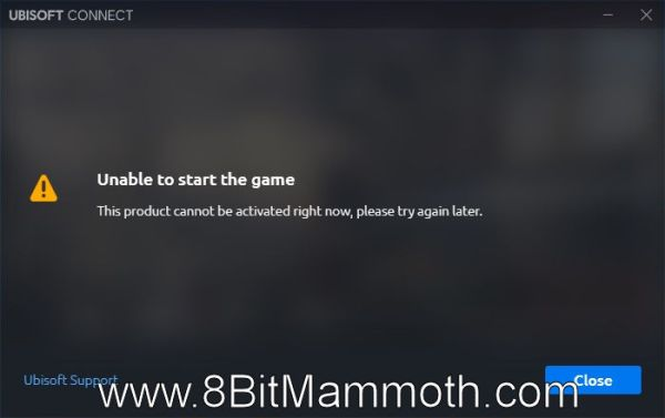 """A screenshot of the Ubisoft Connect error """"Unable to start the game""""."""
