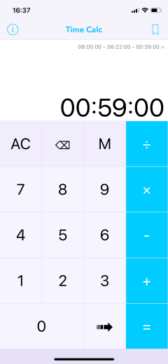 Time Calc Pro - Calculator 04 Subtract