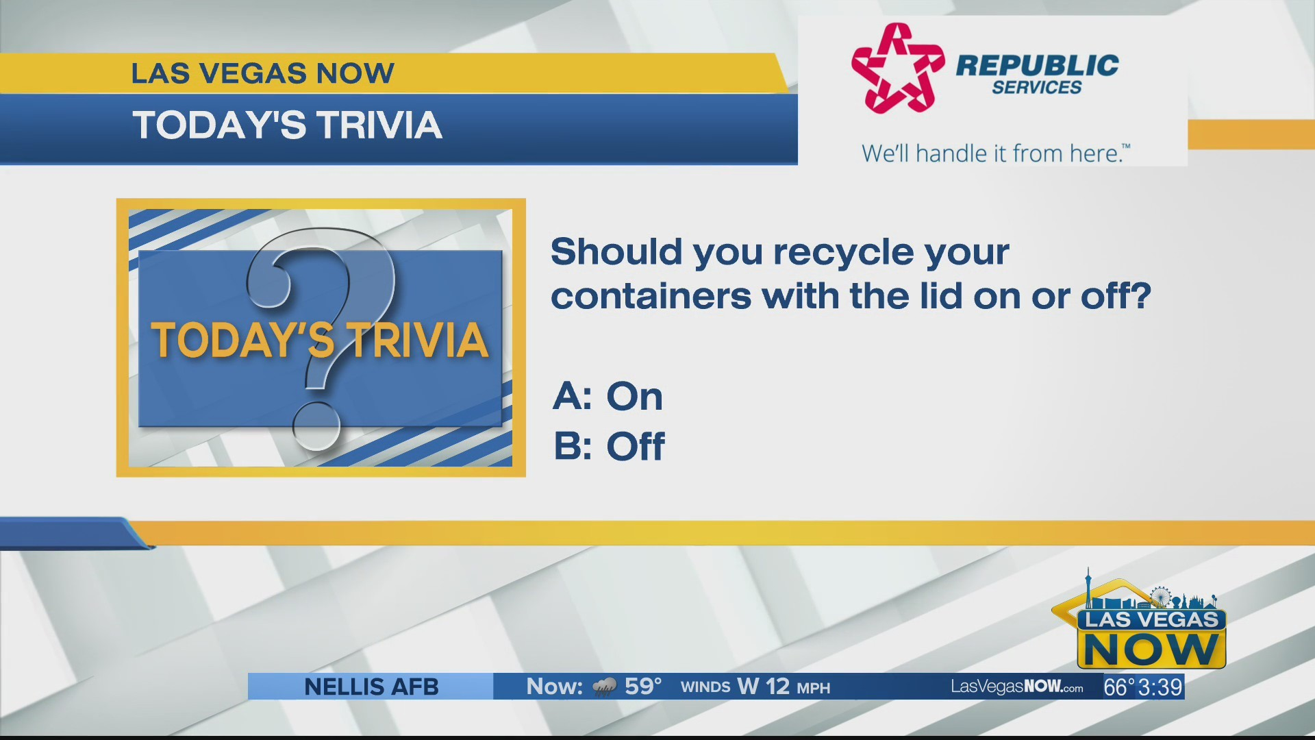 Should you recycle containers with the lid on or off?