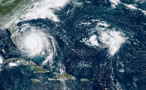 Satellite of Hurricane Dorian's track