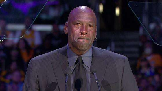michael Jordan cries at kobe bryant memorial
