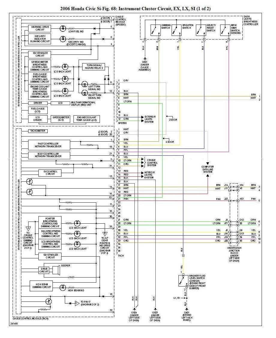 Honda Civic Gauge Cluster Wiring Diagram • Wiring Diagram