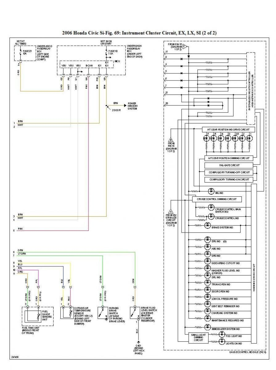 2002 Honda Civic Instrument Cluster Wiring Diagram