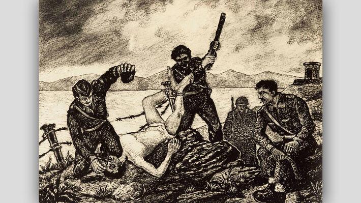 «Φάλαγγα» στην κορυφή, ξυλογραφία του Γ. Φαρσακίδη