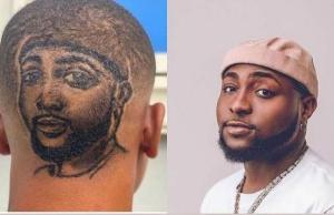 Fan Gets A Haircut With Davido's Face Drawn Behind His Head