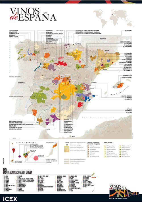 Mapa de Denominaciones de Origen (DO) - Vinos de España