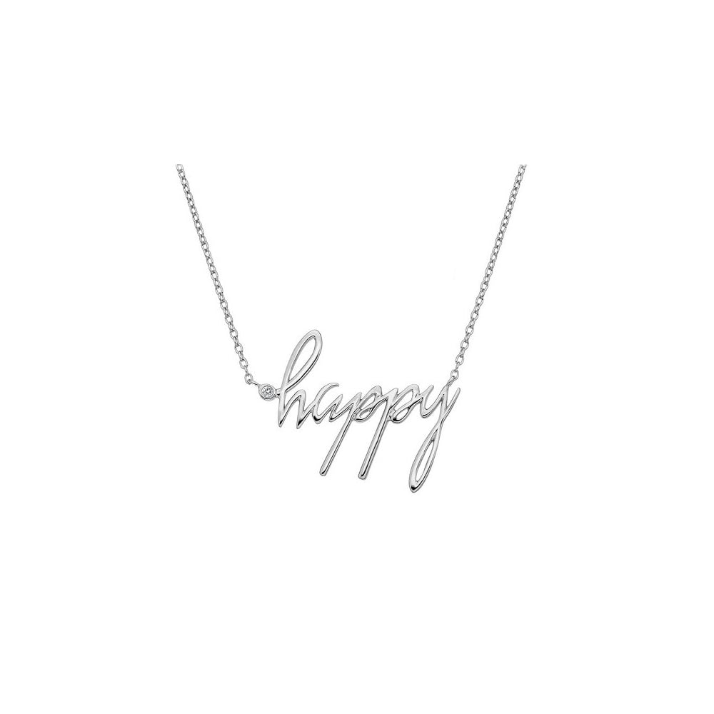 happy silver diamond necklace