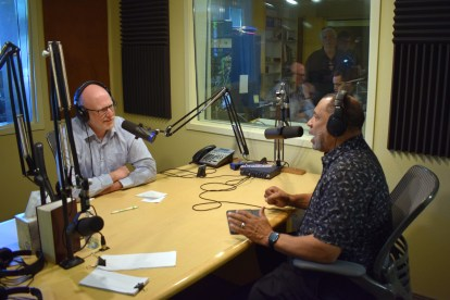 Doug on the air with Pastor Paul Sheppard during the open house.