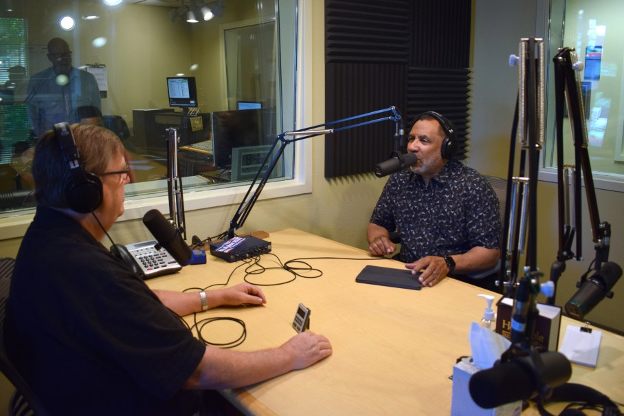 Pastor Tom Dougherty on air with Pastor Paul Sheppard during the open house.