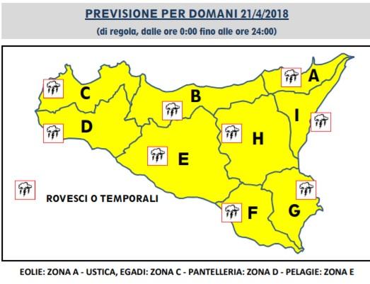 METEO SICILIA: CODICE GIALLA PURE PER LA GIORNATA DI DOMANI