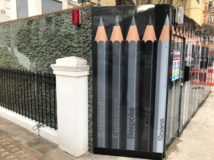 989 design bespoke printed hoarding in notting hill