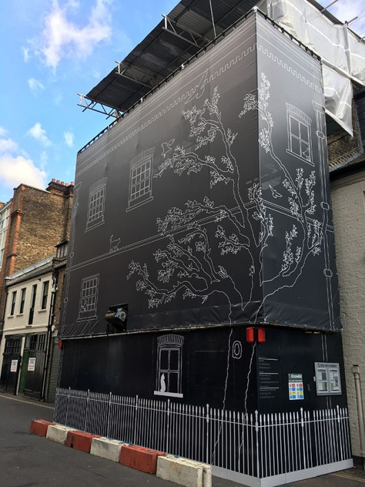 989 design building wrap bespoke printed hoarding in south london