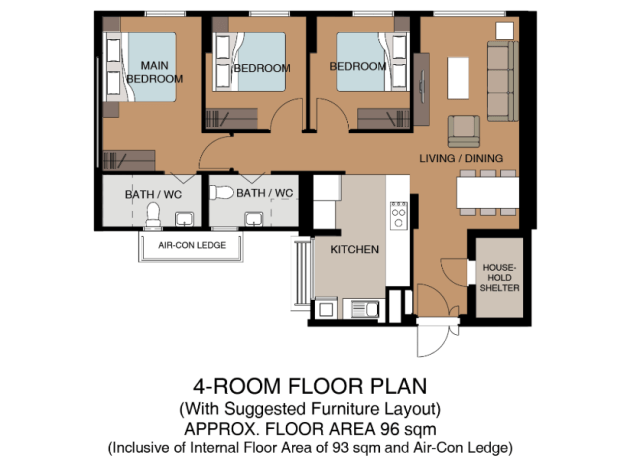 HDB Nov 18 BTO Tampines 4-room floor plan