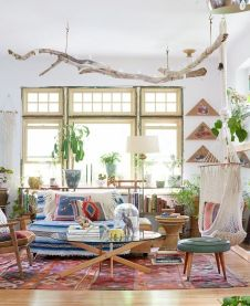 Modern Rustic Bohemian Living Room Design Ideas 71