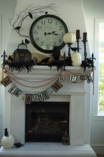 Scary But Classy Halloween Fireplace Decoration Ideas 32