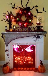 Scary But Classy Halloween Fireplace Decoration Ideas 40