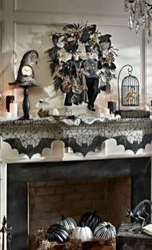 Scary But Classy Halloween Fireplace Decoration Ideas 66
