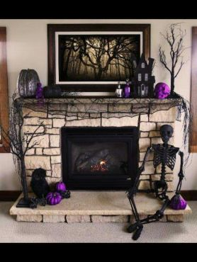 Scary But Classy Halloween Fireplace Decoration Ideas 91