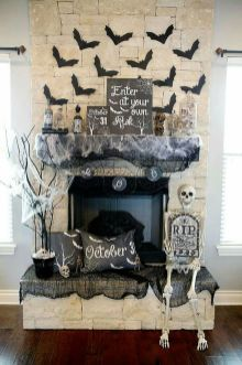 Scary But Classy Halloween Fireplace Decoration Ideas 99