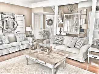 Cute Shabby Chic Farmhouse Living Room Decor Ideas 10