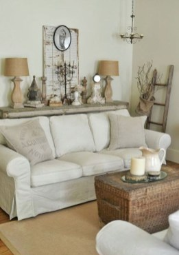 Cute Shabby Chic Farmhouse Living Room Decor Ideas 16